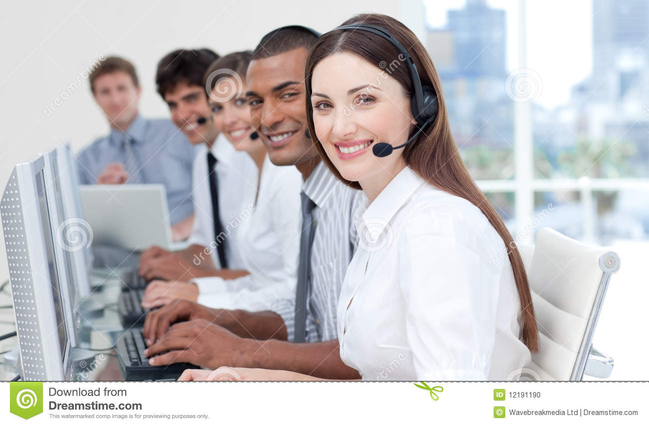 Smiling Business People With Headset On Stock Photo Image