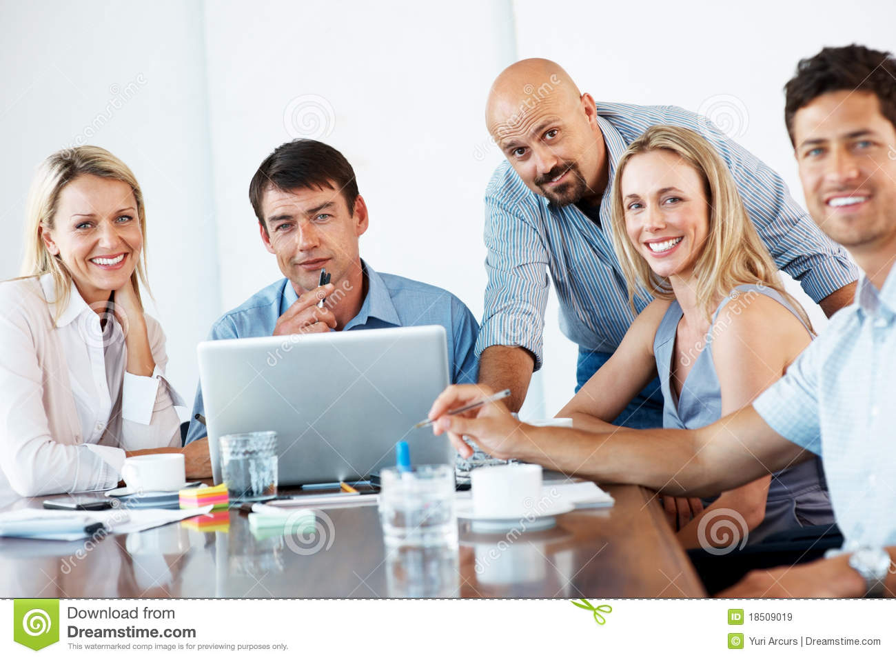 Royalty Free Stock Images: Smiling business people at meeting in ...