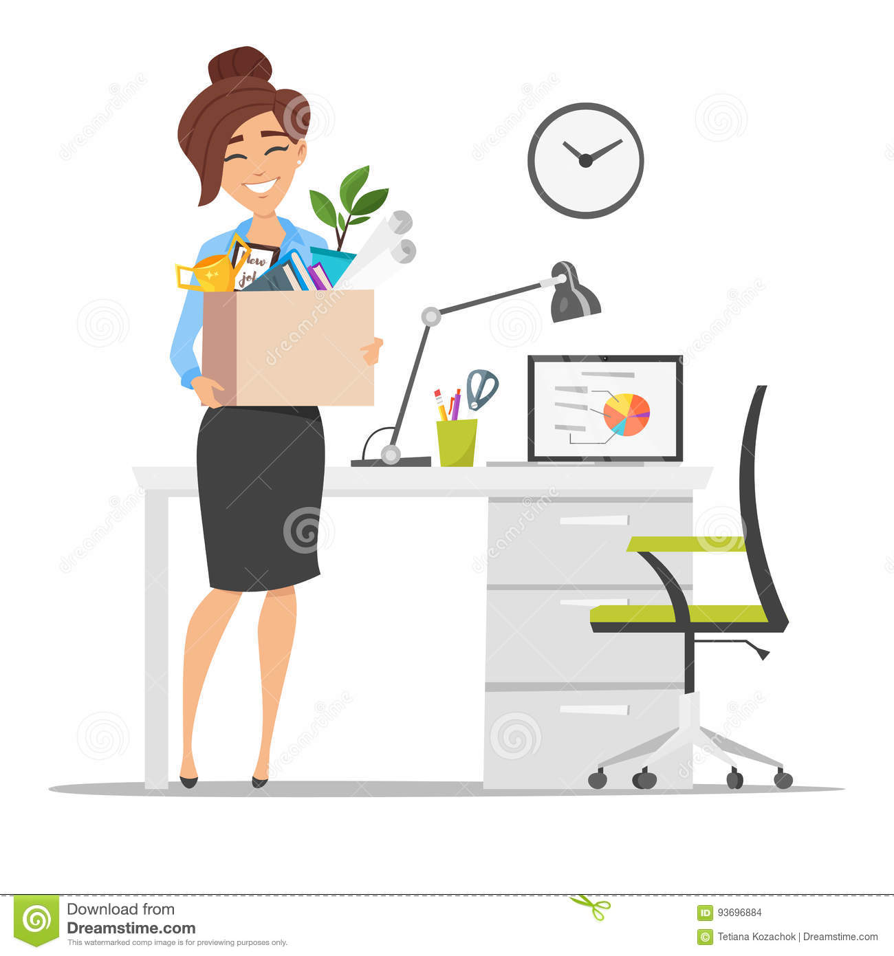 smiling business woman holding cardboard box with work stuff at a