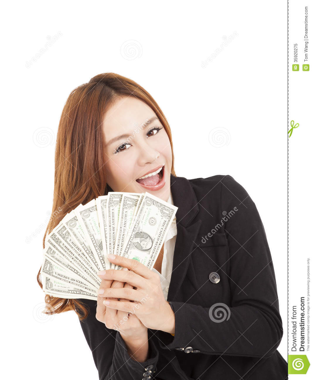 Smiling Business Woman Holding The Money Royalty Free ...