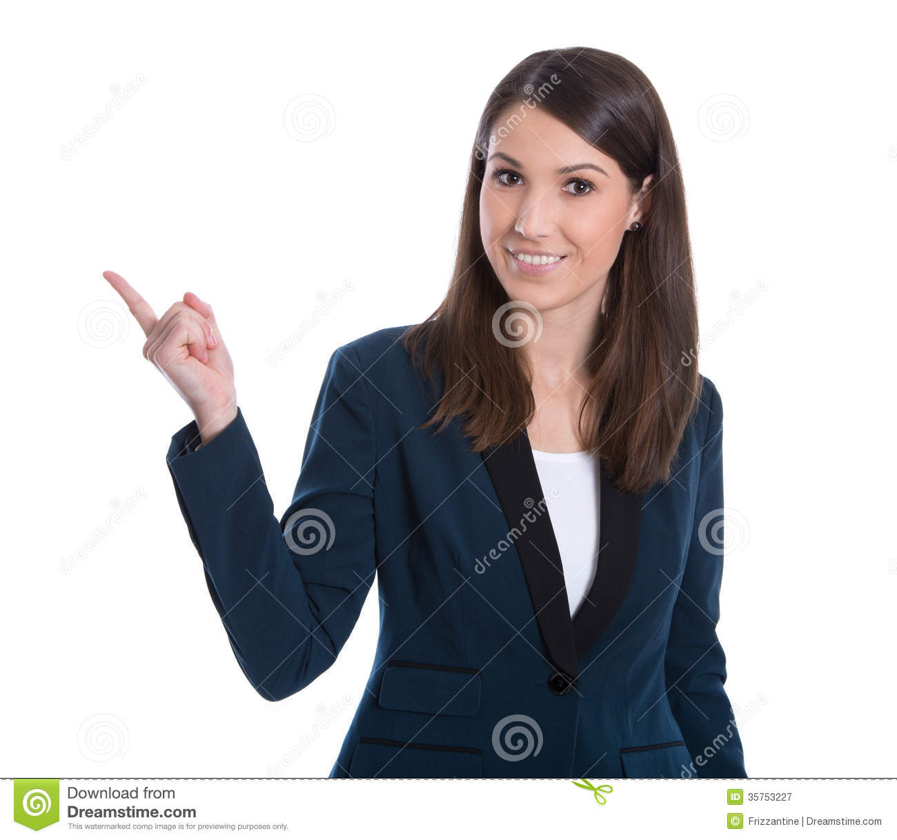 Smiling Business Woman Presenting. Isolated Over White Backgroun ... Woman