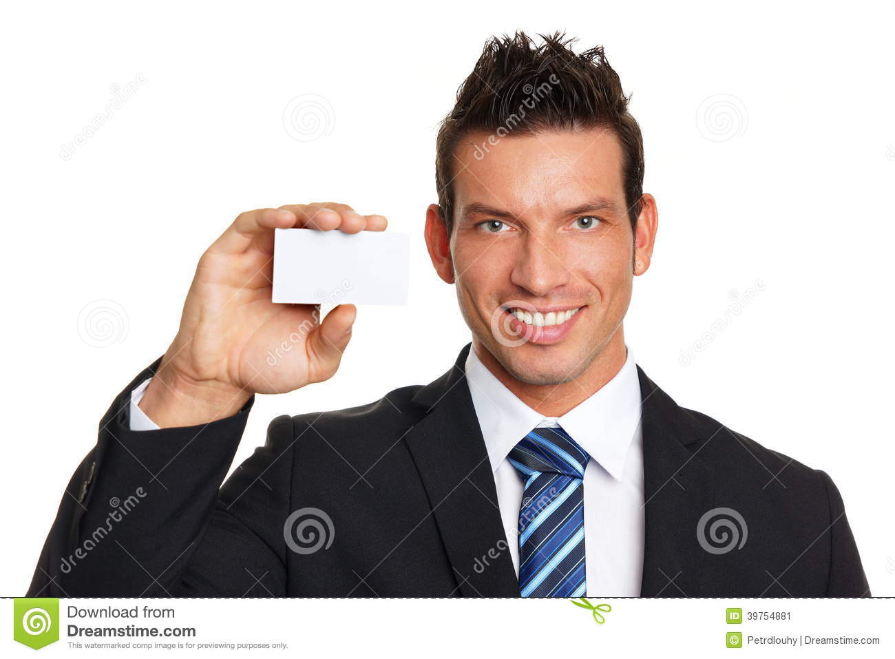 Smiling businessman with business card
