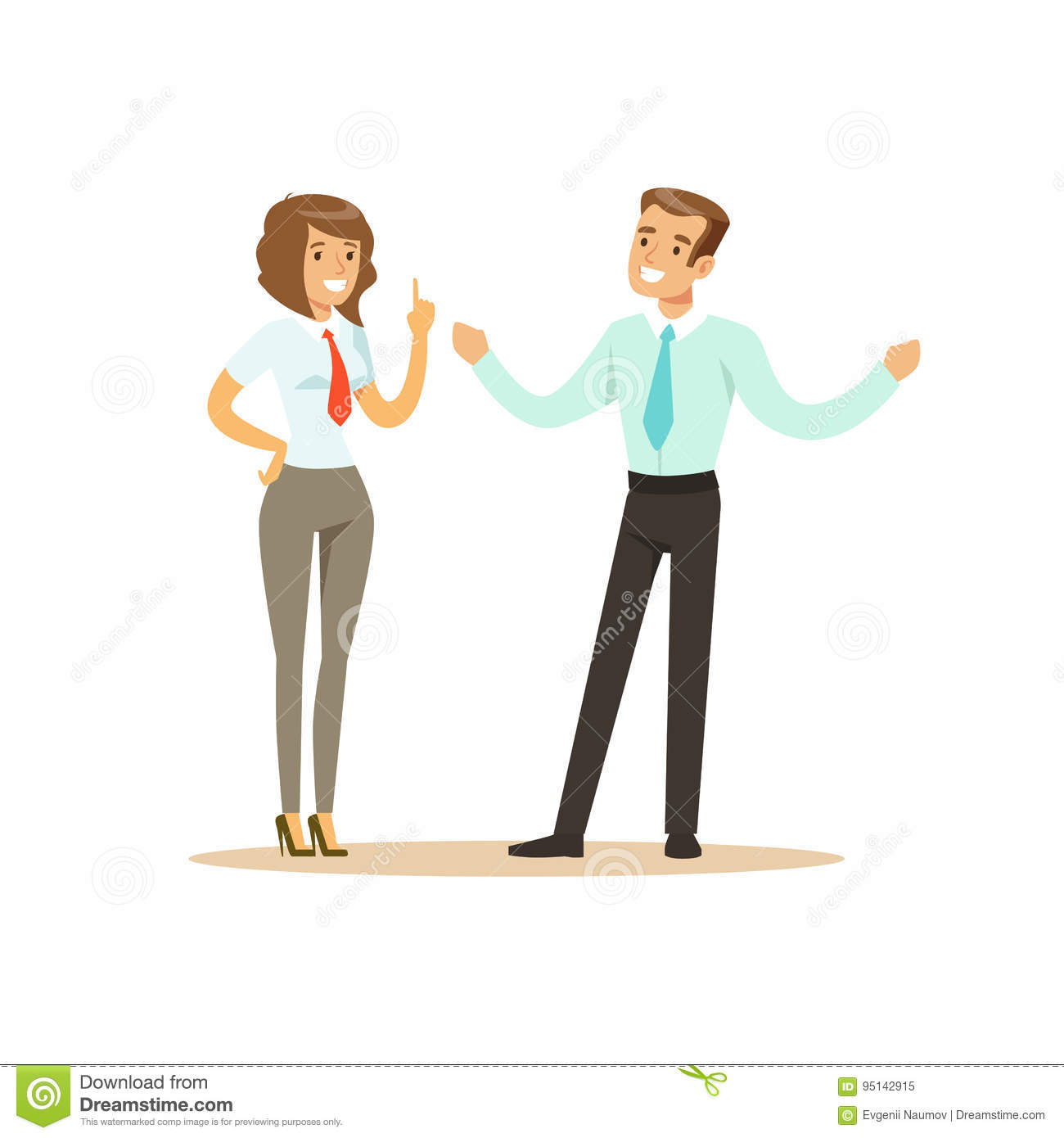 Smiling businessman and businesswoman having meeting in office vector Illustration