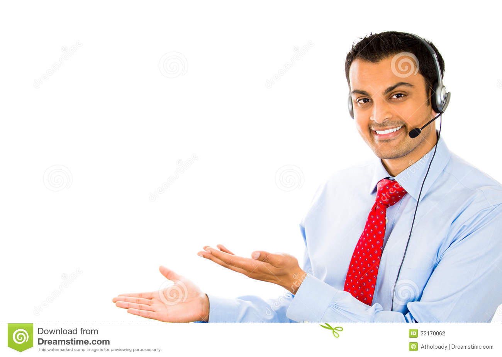 Smiling Businessman    Customer Service Representative Talking On Headset Stock Photography