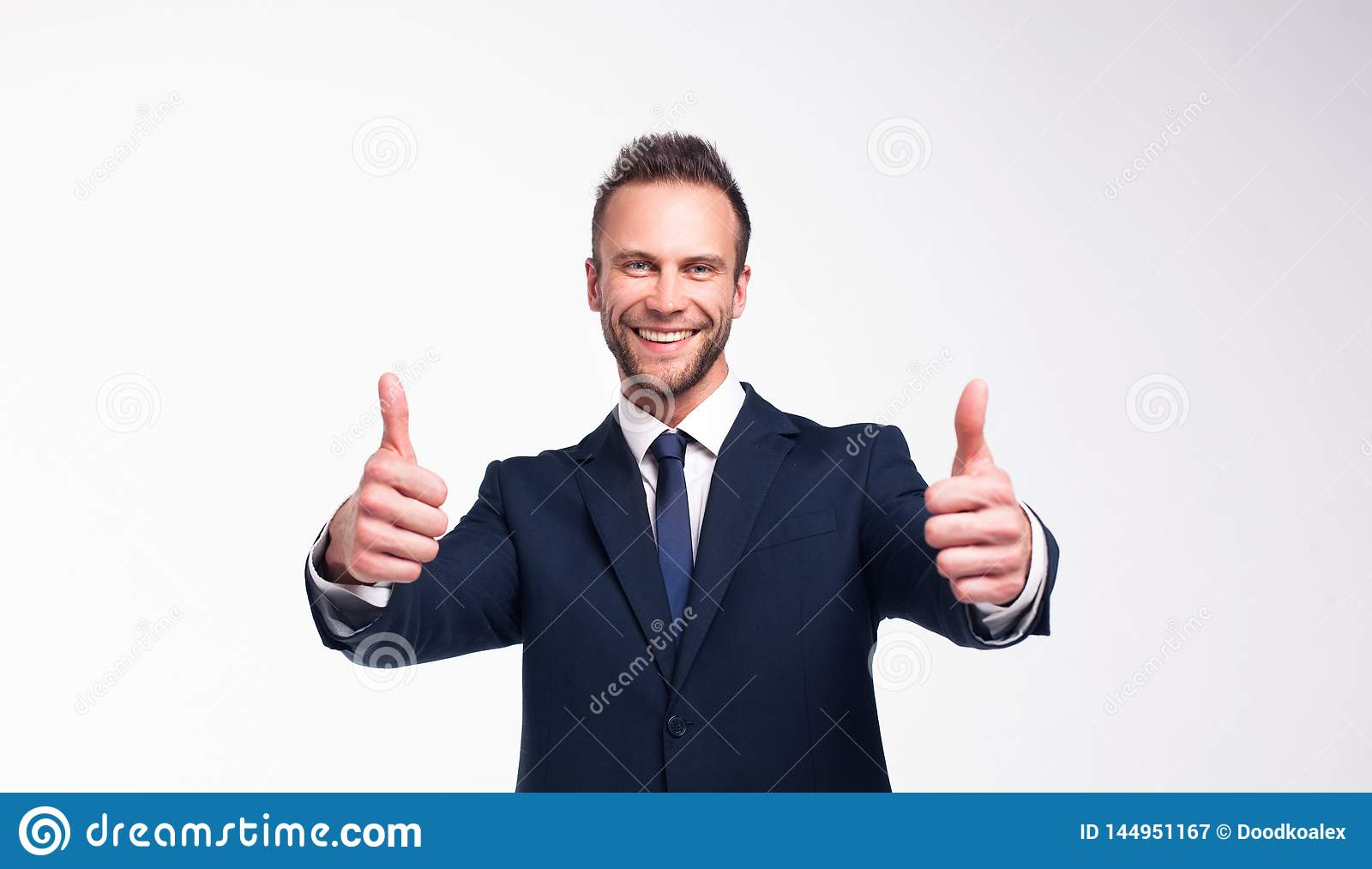 Smiling businessman over a white background