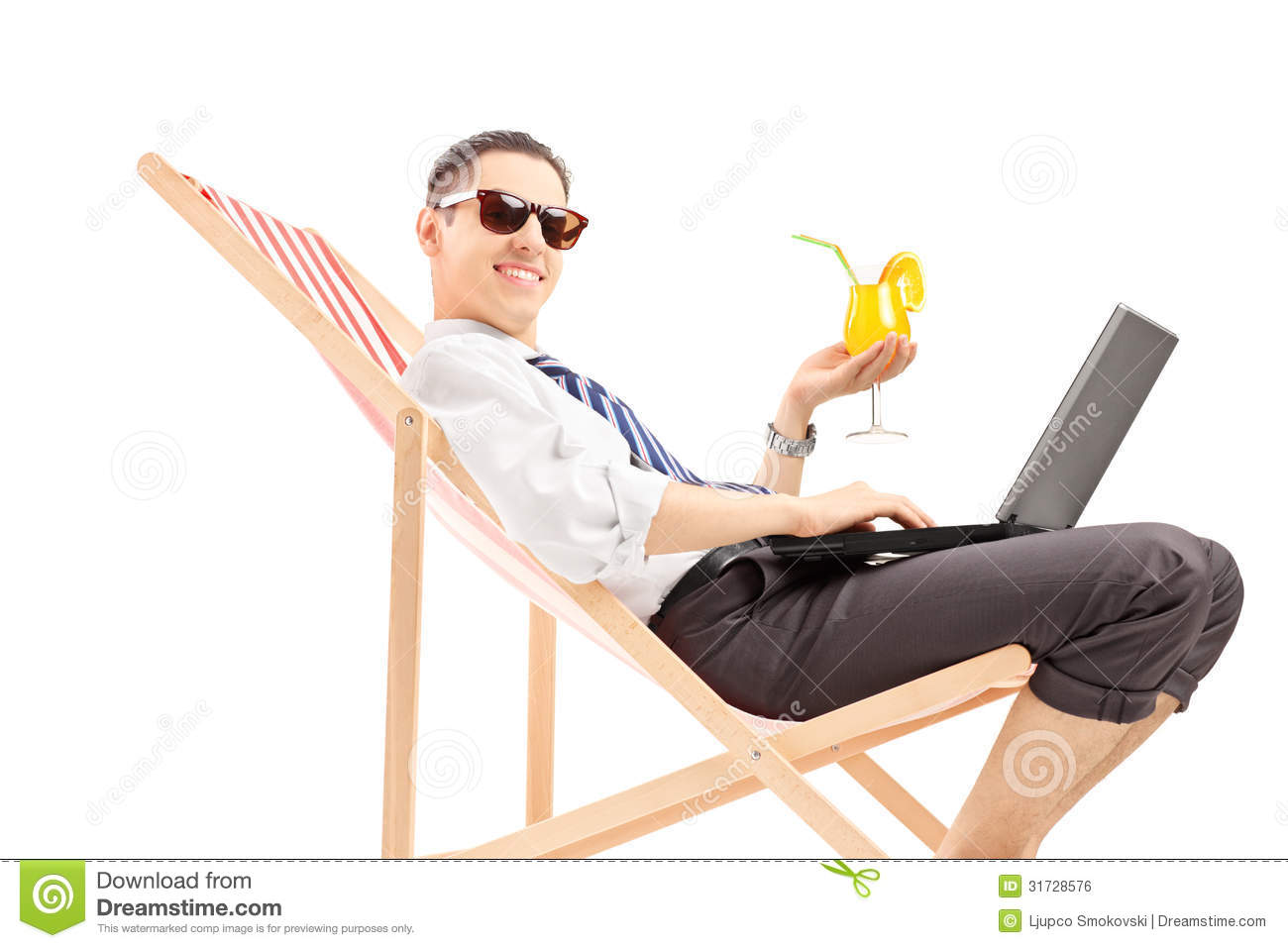 Smiling Busy Man With Laptop Sitting On A Beach Chair And ...