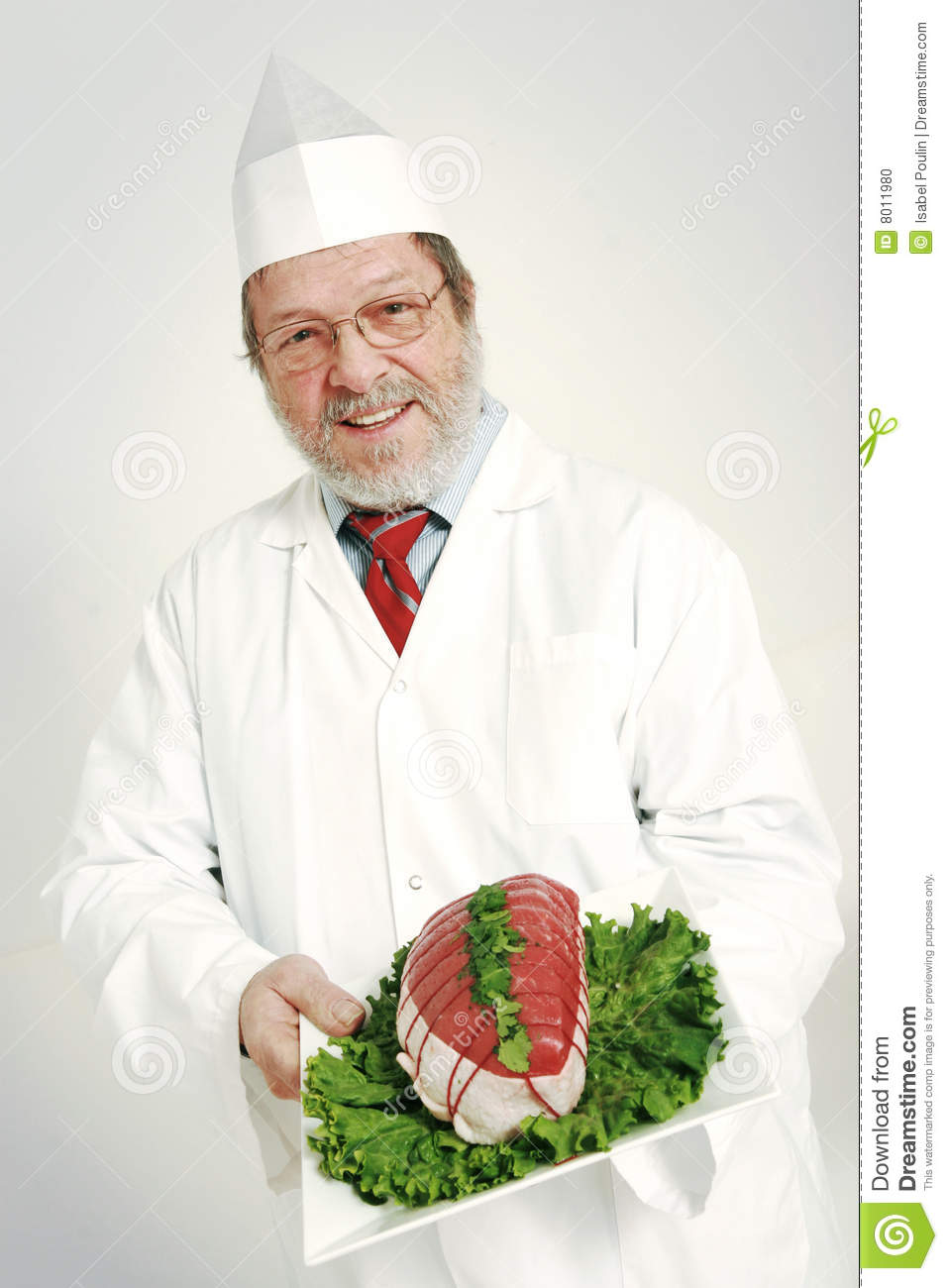 Download Smiling Butcher stock photo. Image of butcher, male, plate - 8011980