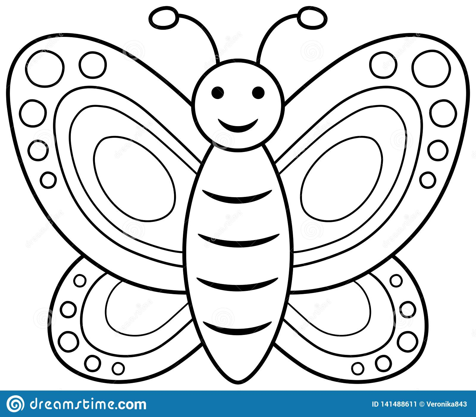- Smiling Butterfly Coloring Book Stock Vector - Illustration Of