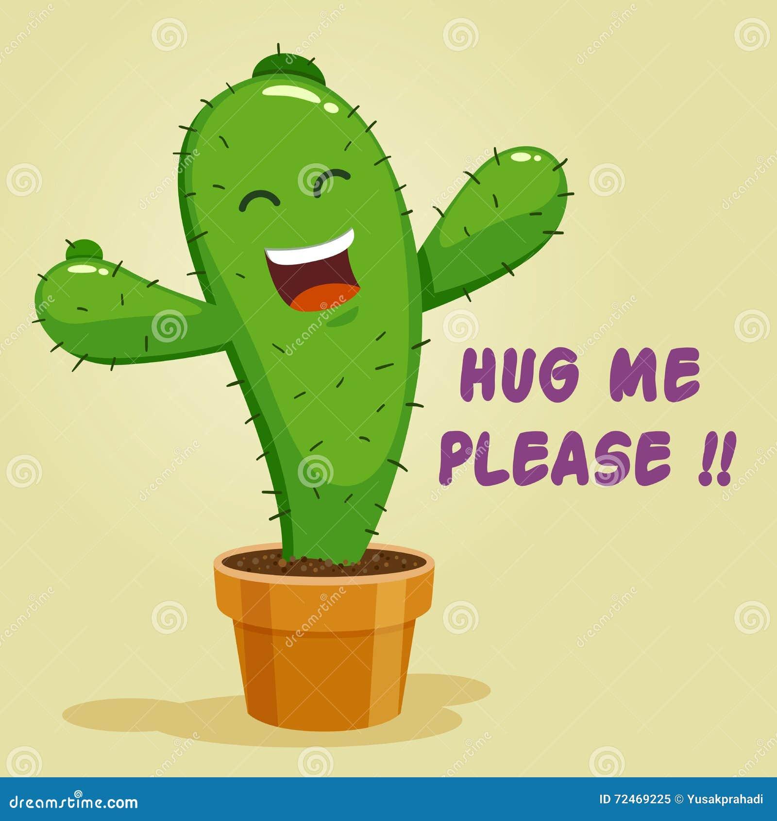 Cactus Hug Illustration Cartoon Vector Cartoondealer Com