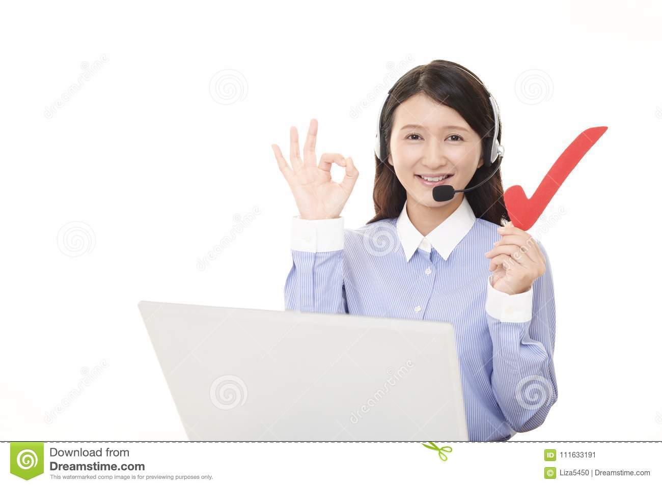 Smiling call center operator with a check mark