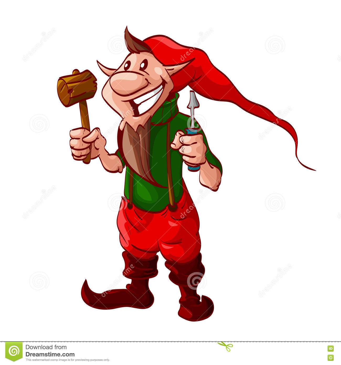 Smiling Cartoon Christmas Elf Or A Dwarf Stock Vector - Image ...