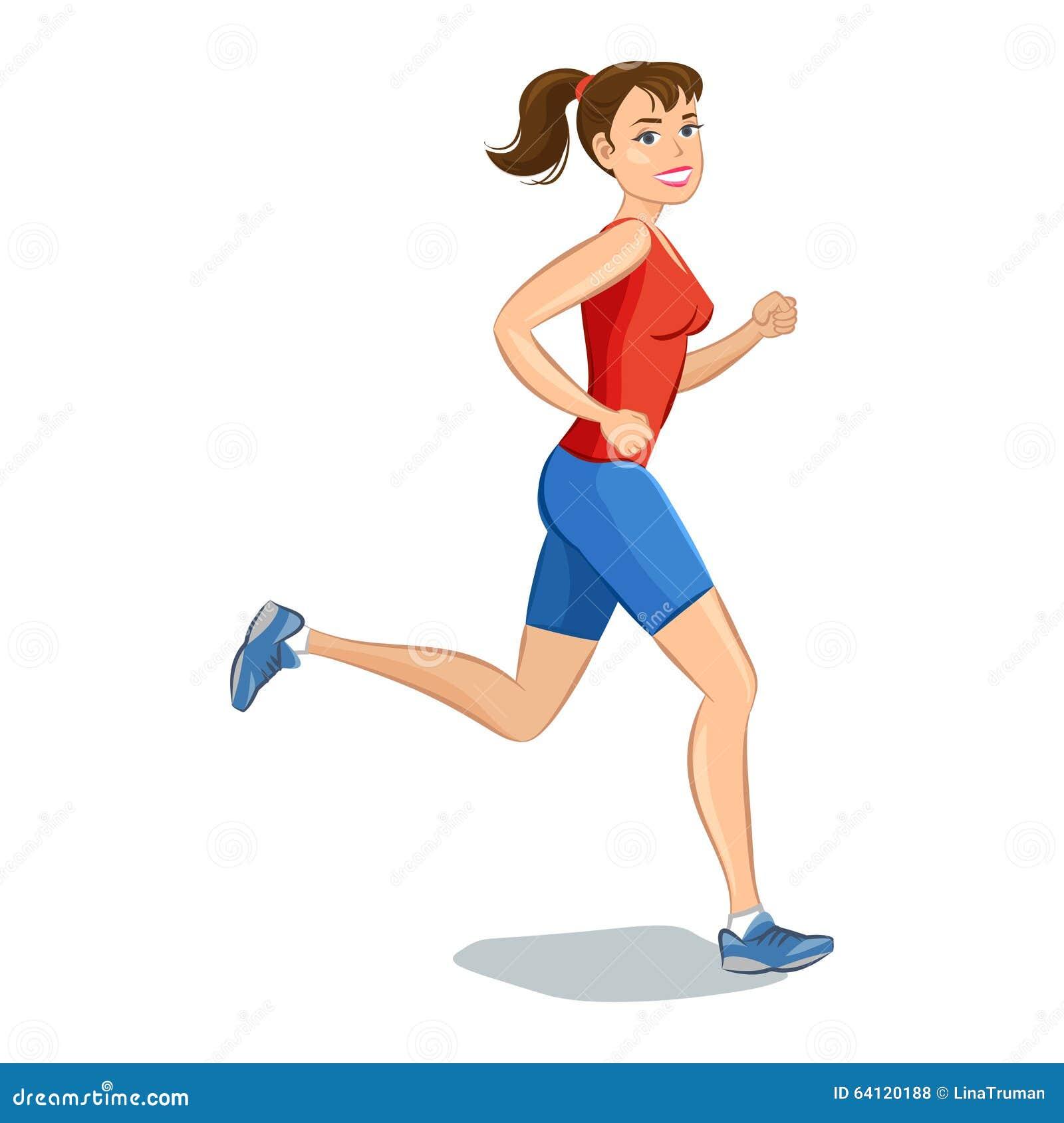 Smiling Cartoon Girl Jogging Beautiful Running Woman Stock Vector Illustration Of Healthy