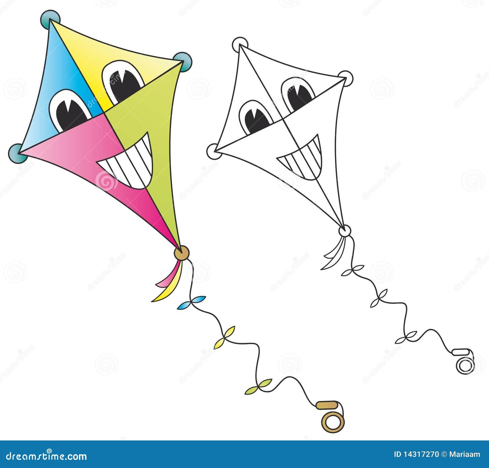 Kite Background Smiling cartoon kite o...