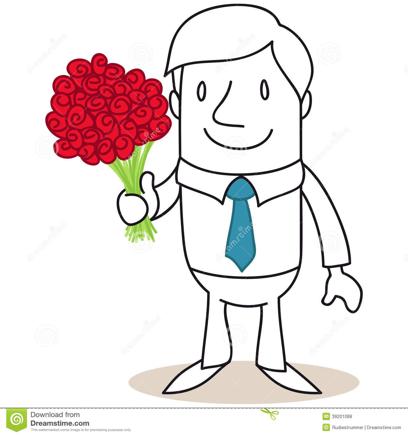 Smiling cartoon man holding bouquet of red roses stock vector smiling cartoon man holding bouquet of red roses izmirmasajfo