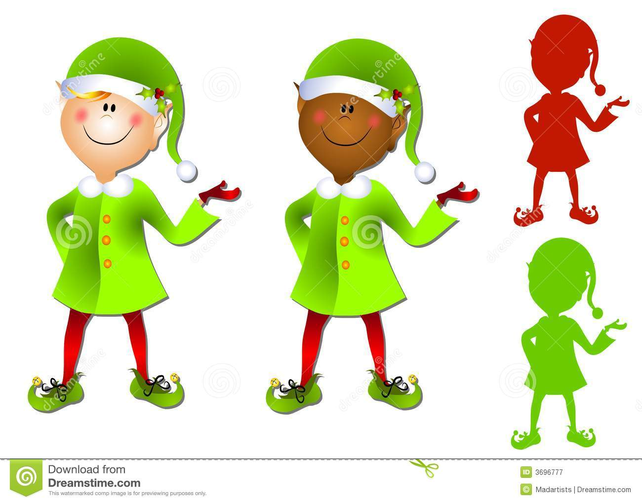 Smiling Cartoon Santa Elf Clip Art Stock Illustration - Illustration ...