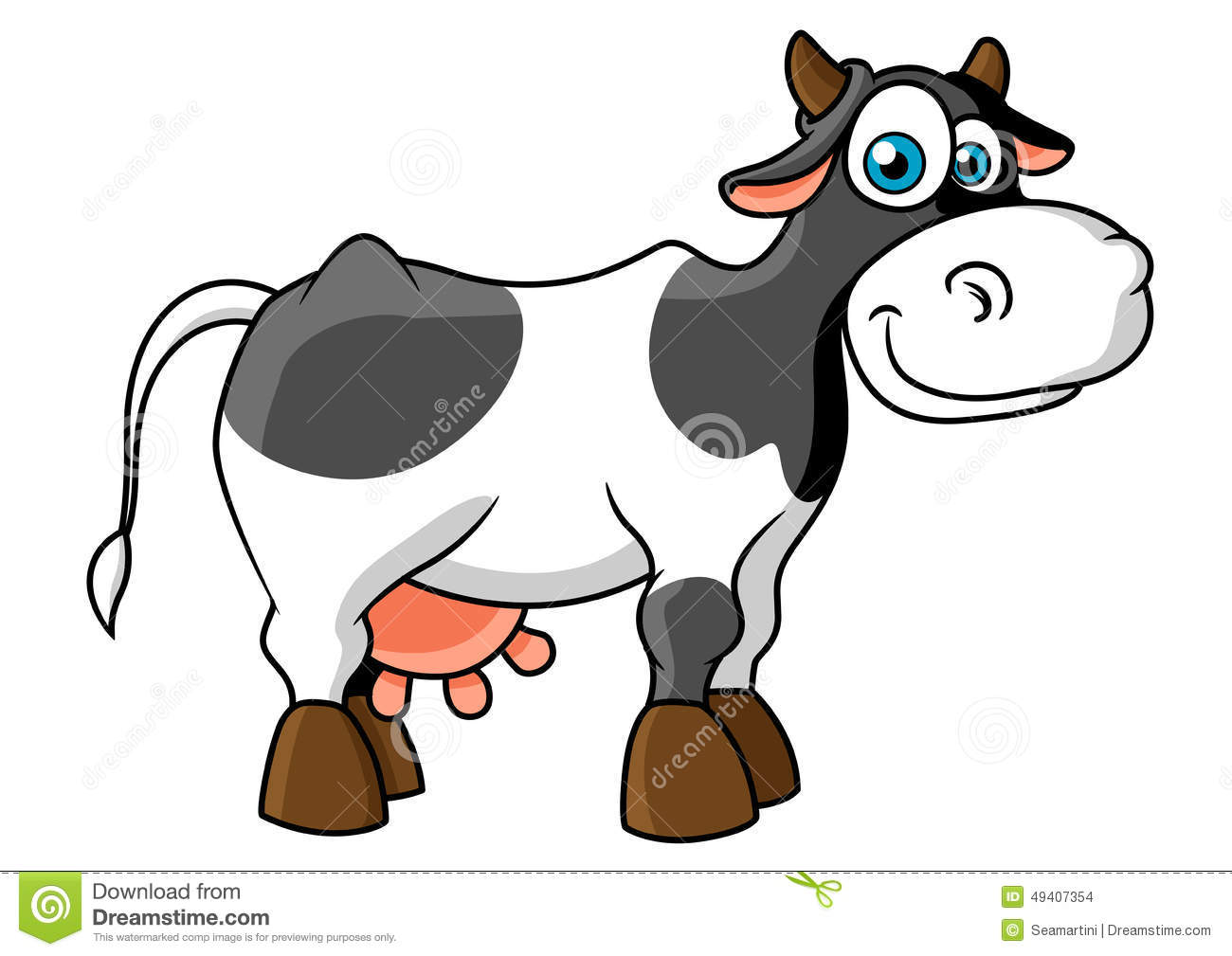 smiling cartoon spotted cow character stock vector image 49407354