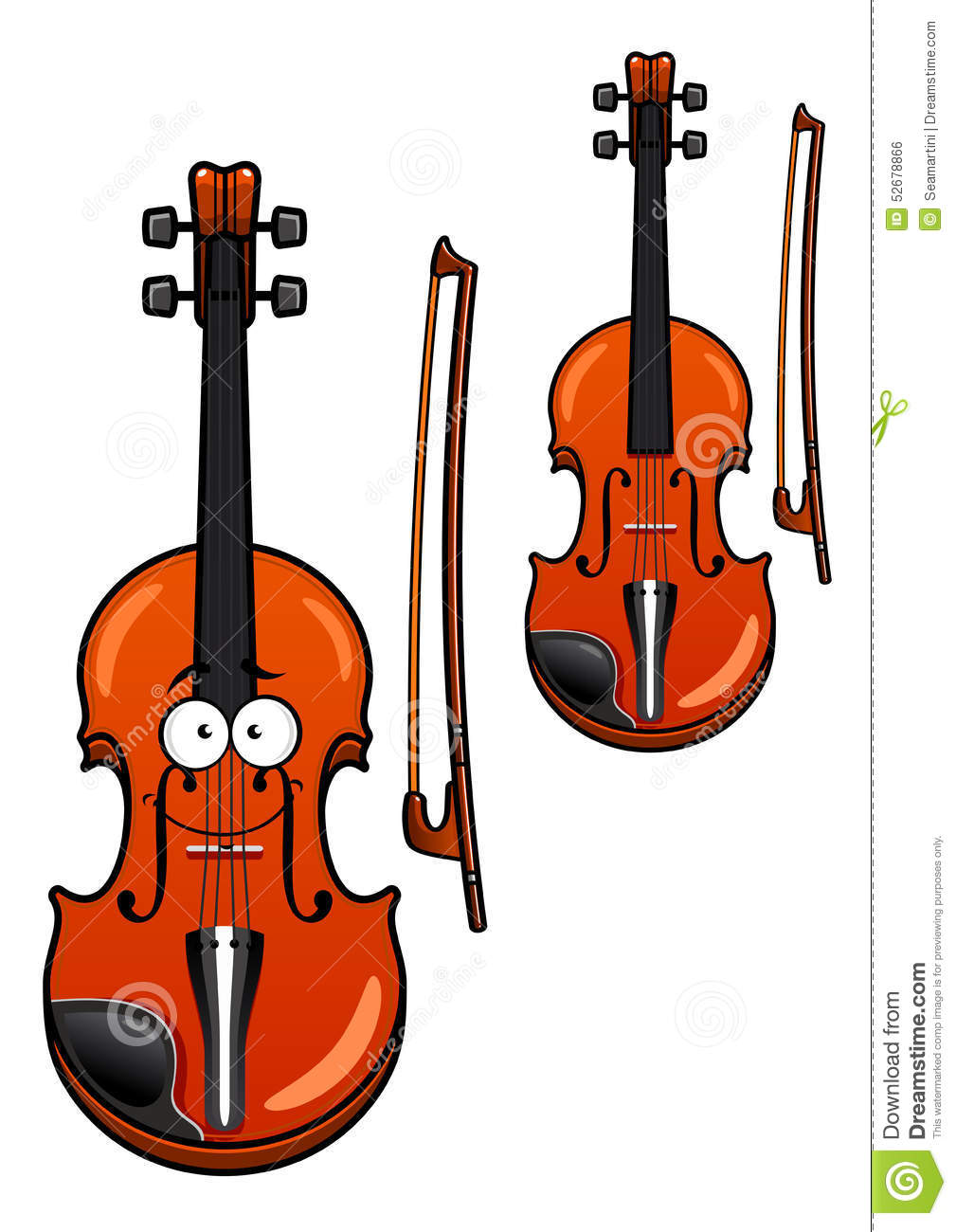classic wooden violin cartoon character with bow isolated on white ...
