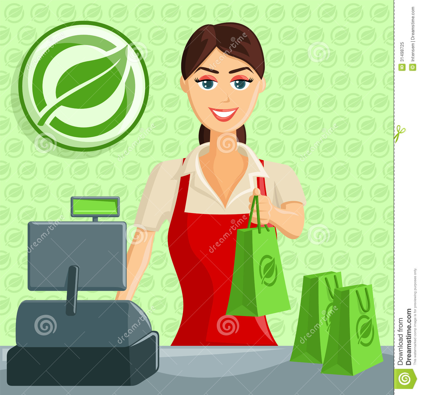 Smiling Cashier Girl At Eco Green Store Royalty Free Stock Photo ...