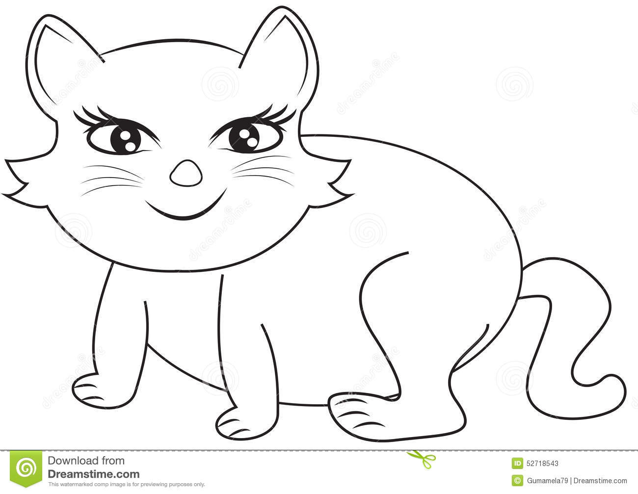 smiling cat coloring page stock illustration image 52718543