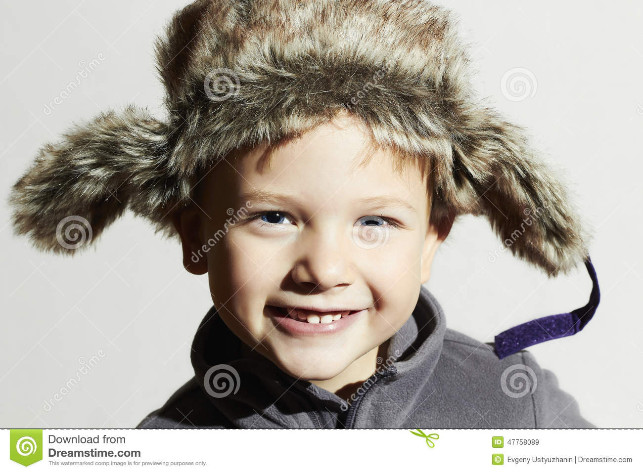 9095f7cb7000 Smiling Child In Fur Hat.fashion Casual Winter Style.little Funny ...