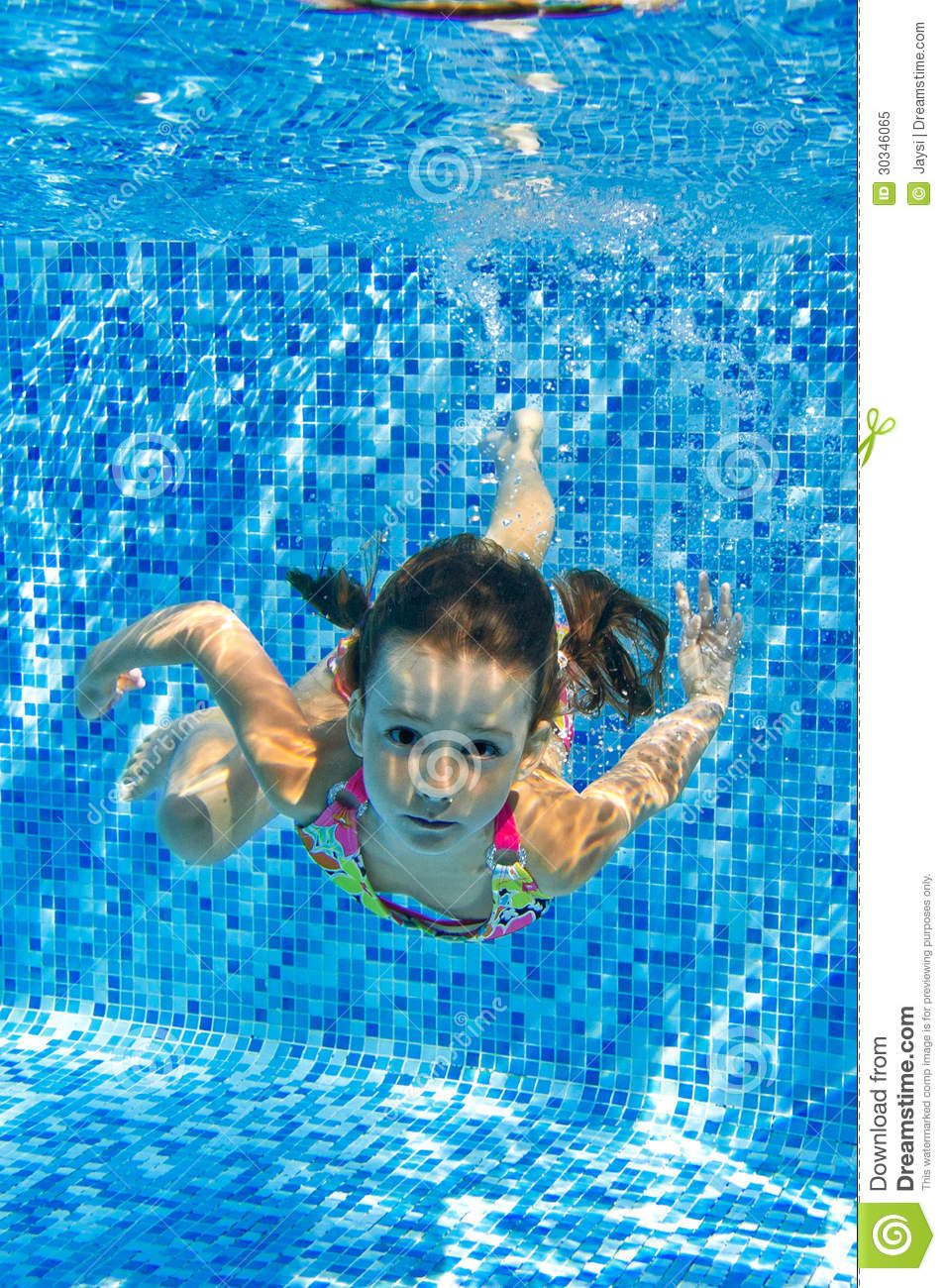 Smiling Child Swims Underwater In Pool Royalty Free Stock ...