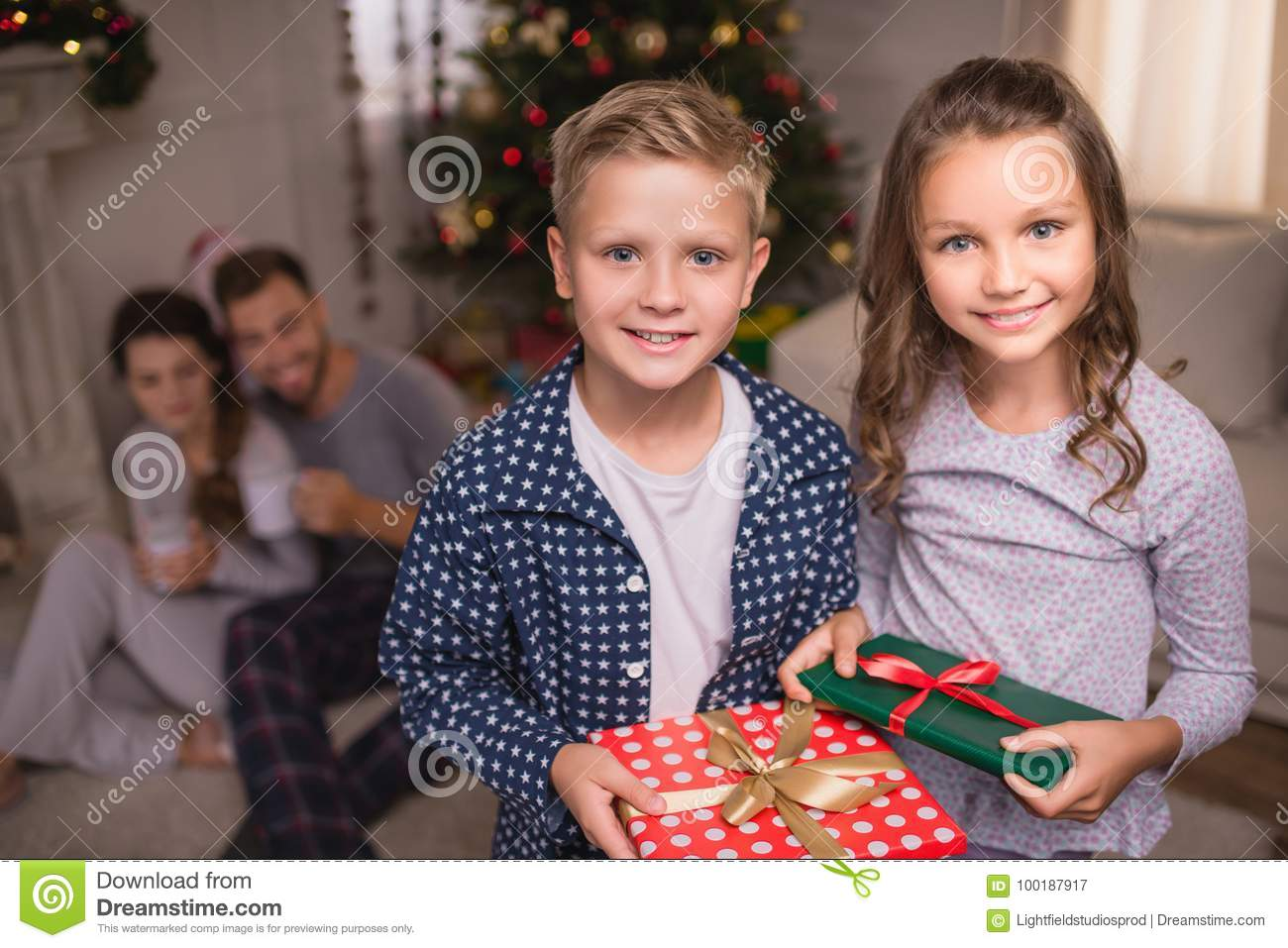 Smiling Children With Christmas Gifts Stock Image - Image of xmas ...