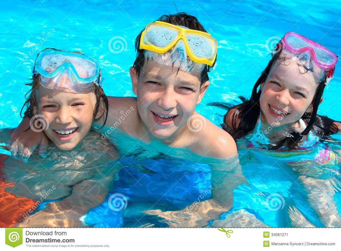 Smiling Children In Swimming Pool Stock Image Image 34061271