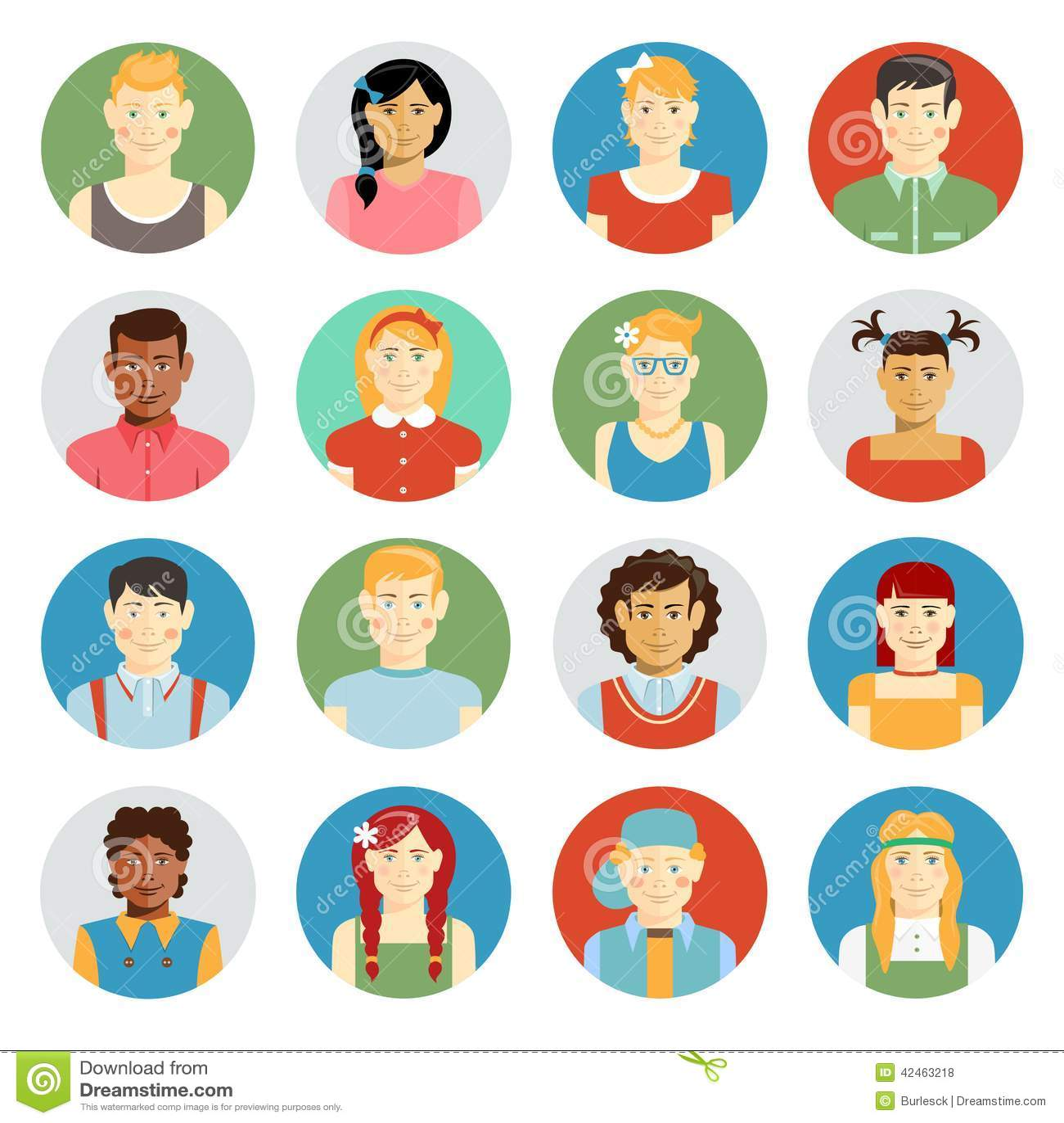 smiling children vector avatar set stock vector illustration of