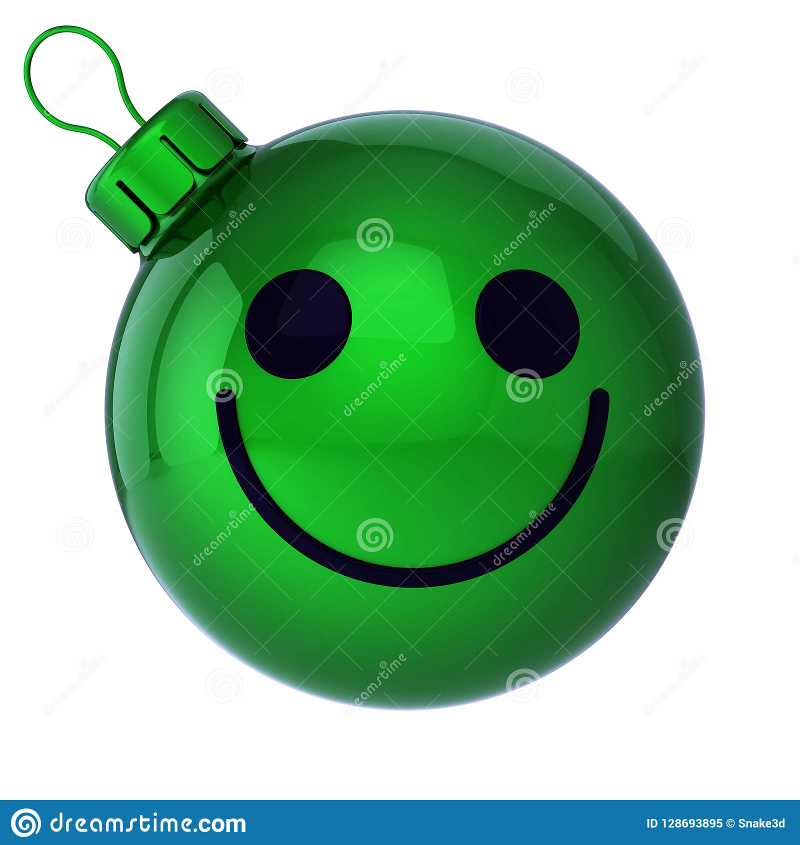 Smiling Christmas ball face emoticon green. New Year`s Eve bauble