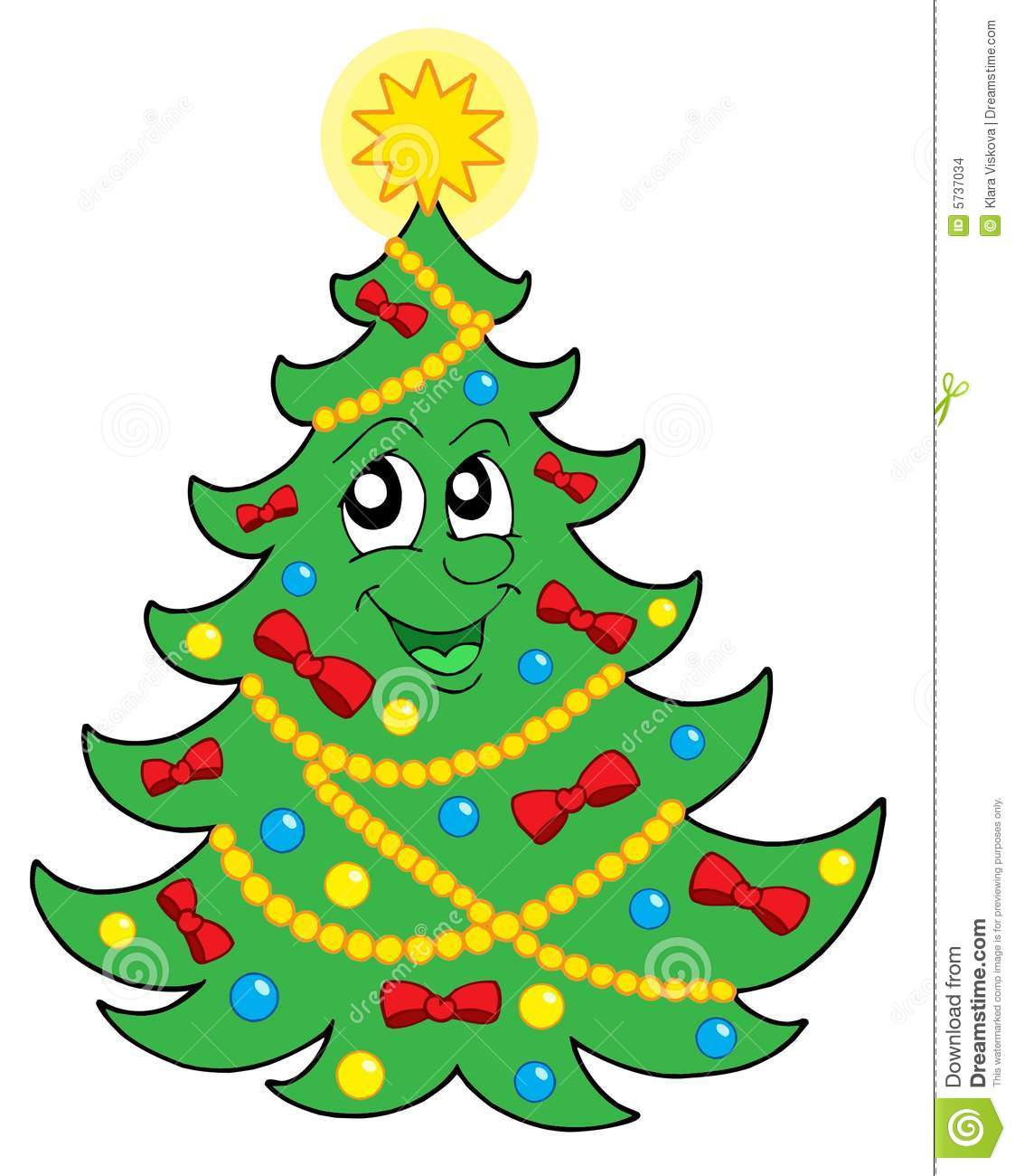 Smiling Christmas Tree 2 Vector Stock Vector - Illustration of draw ...