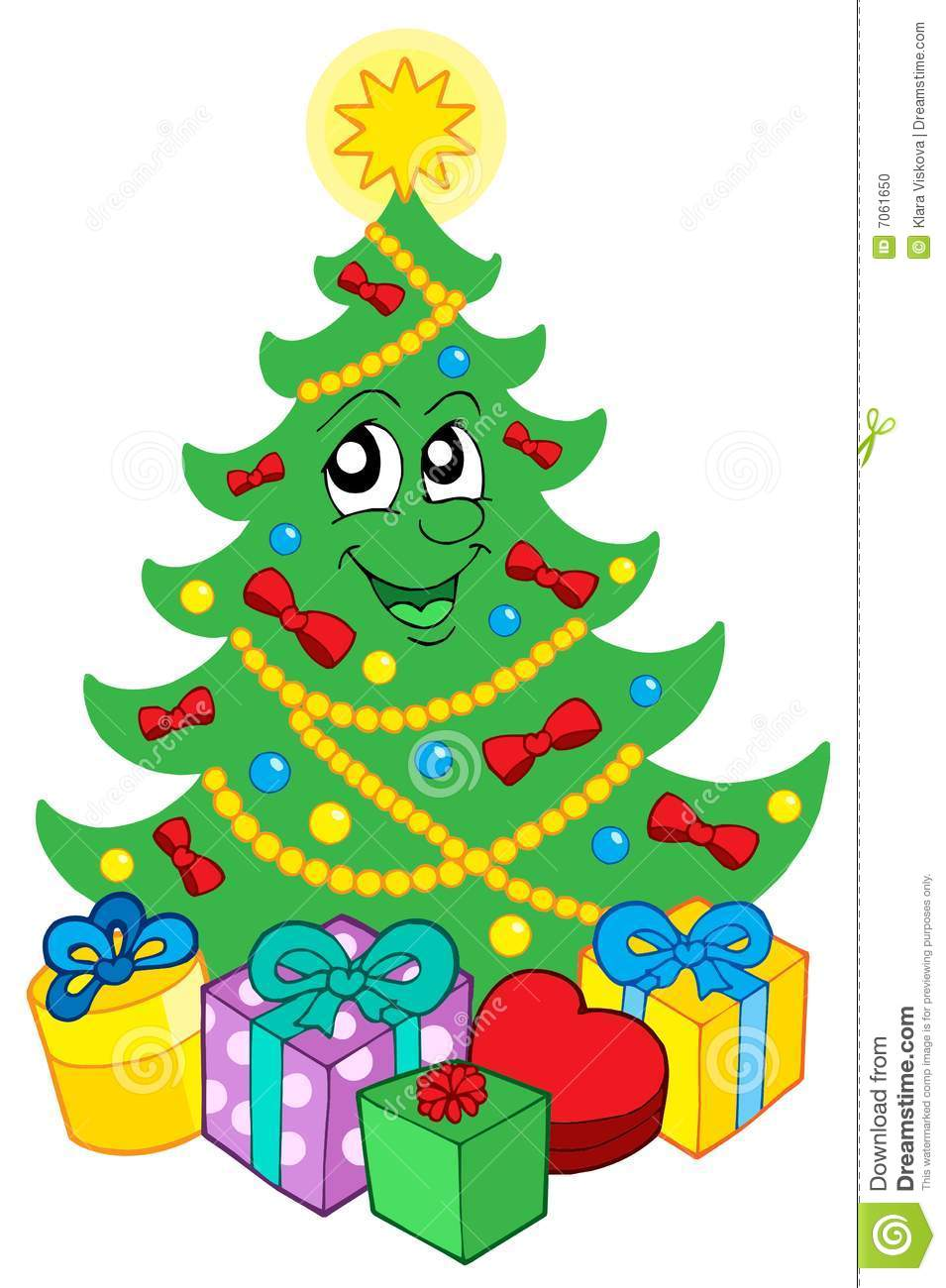 Smiling Christmas Tree With Gifts Stock Vector - Illustration of ...
