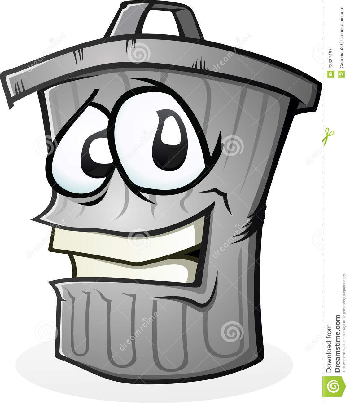 trash can full of smelly garbage. Not really sure why he is smiling ...