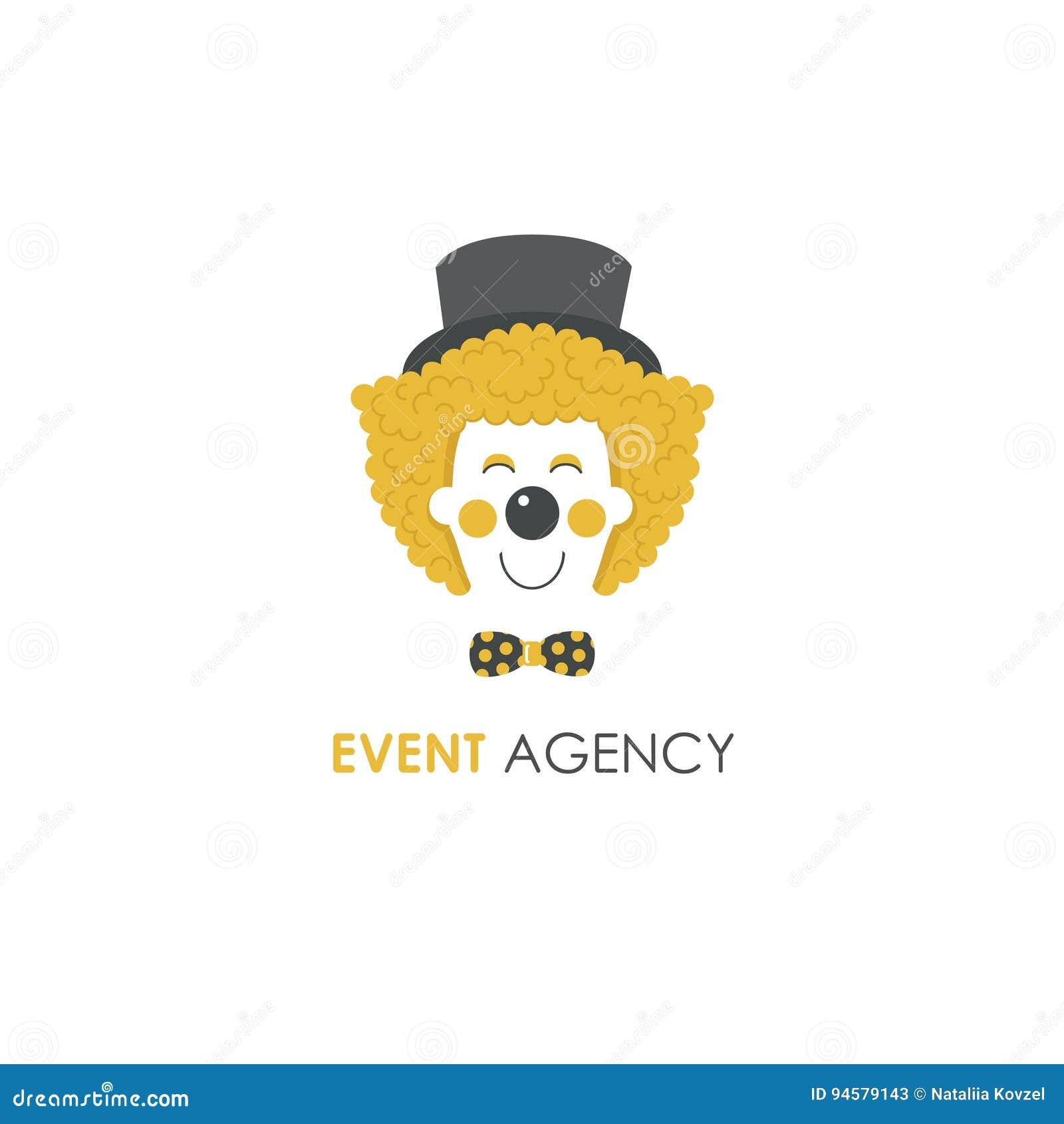 Smiling Clown Face Line Logo Design Template. Stock Vector ...