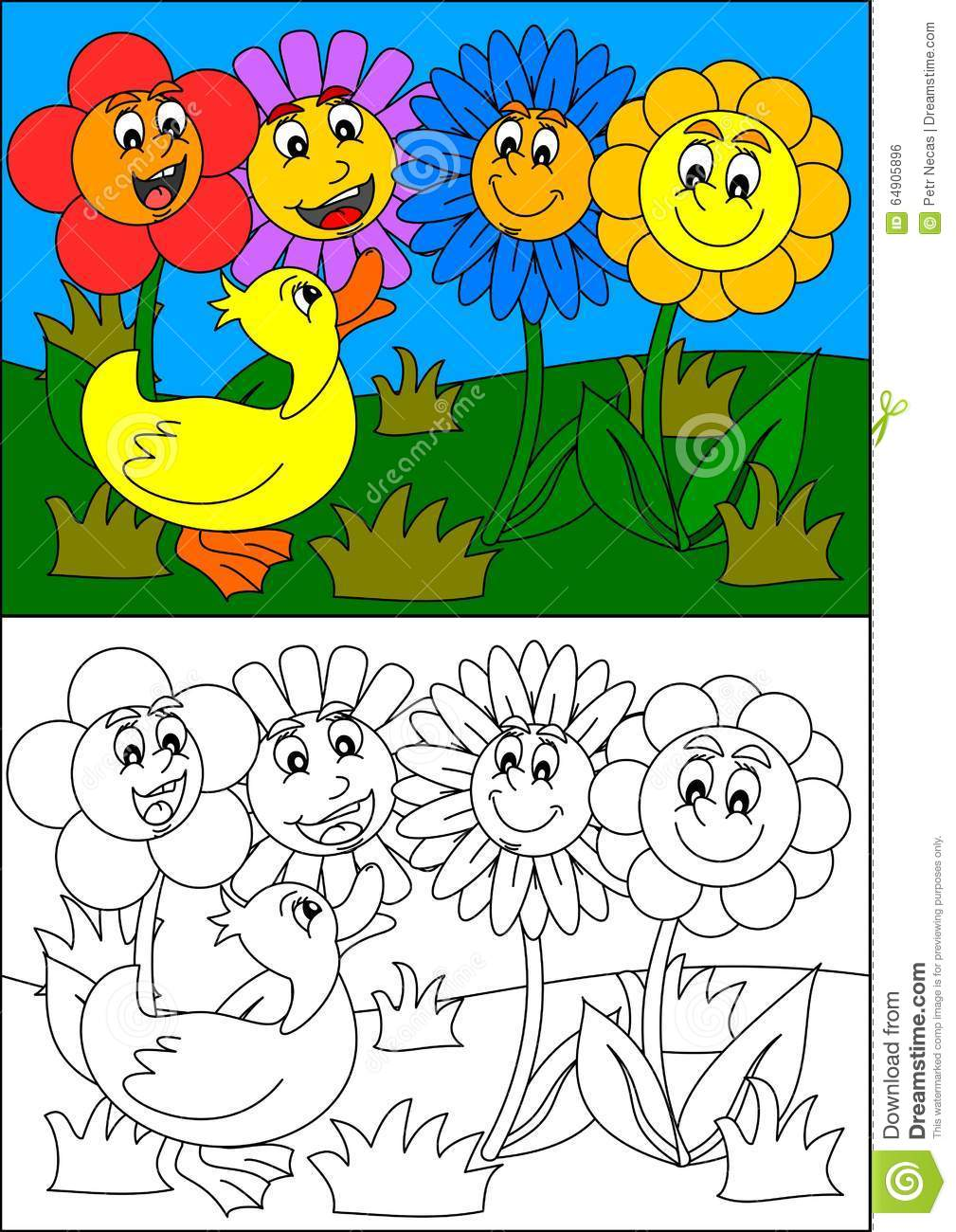 Smiling Colorful Flowers And Duck, As Coloring Books For Small ...