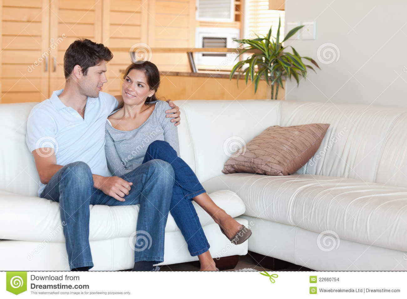 Smiling couple sitting on a couch stock images image 22660754