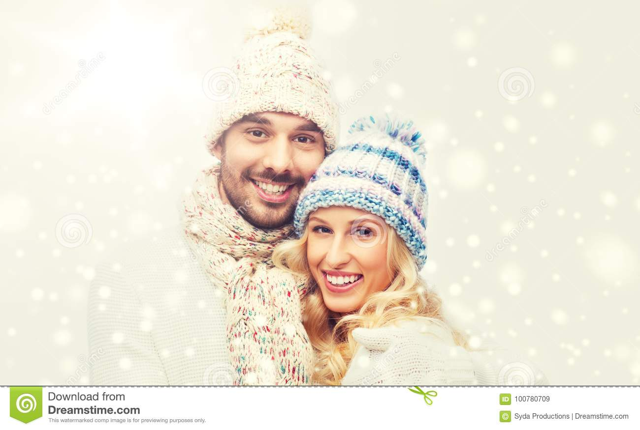 8b5a522ecb0 Smiling Couple In Winter Clothes Hugging Stock Image - Image of ...