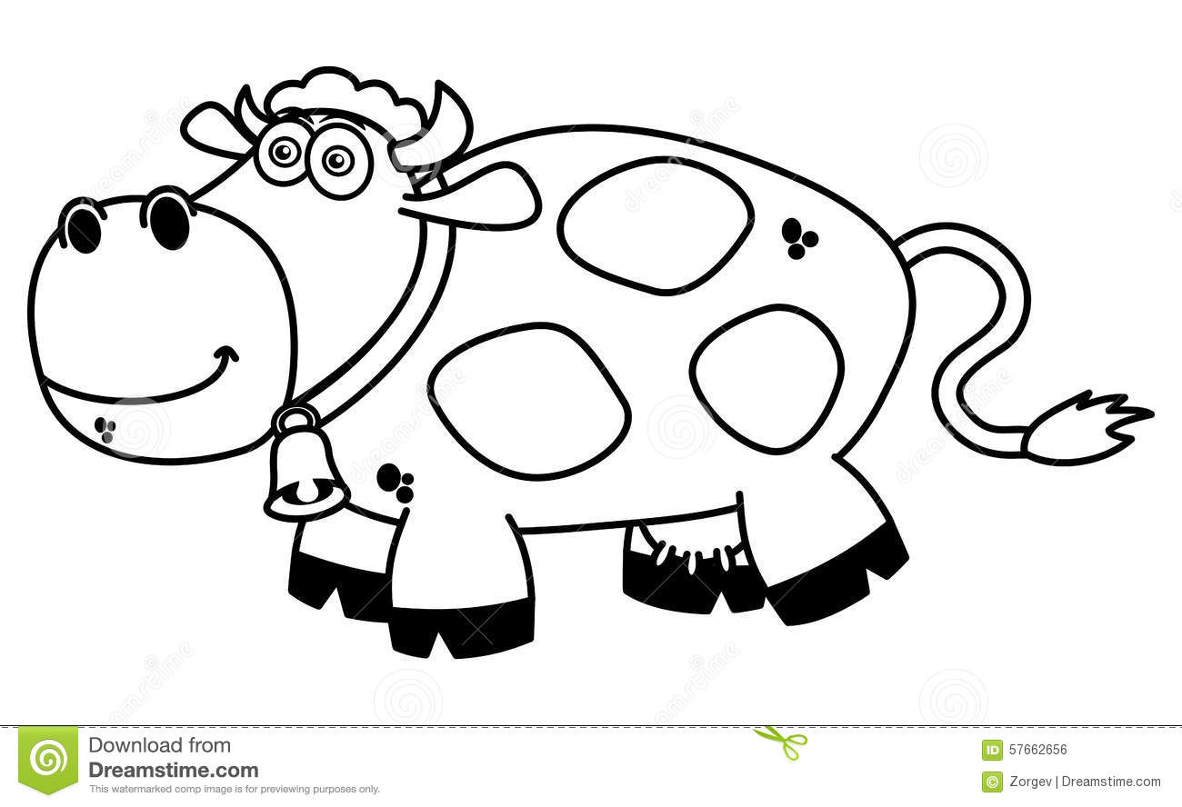 A smiling cow coloring stock illustration. Illustration of line ...