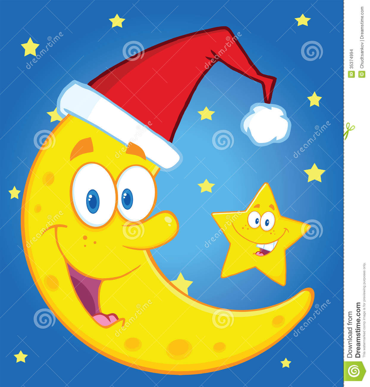Stock Images: Smiling Crescent Moon With Santa Hat And Happy Christmas ...