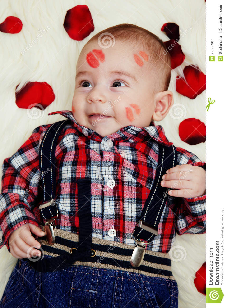 Smiling Cute Baby Boy With Lipstick On His Face Stock Image Lipstik
