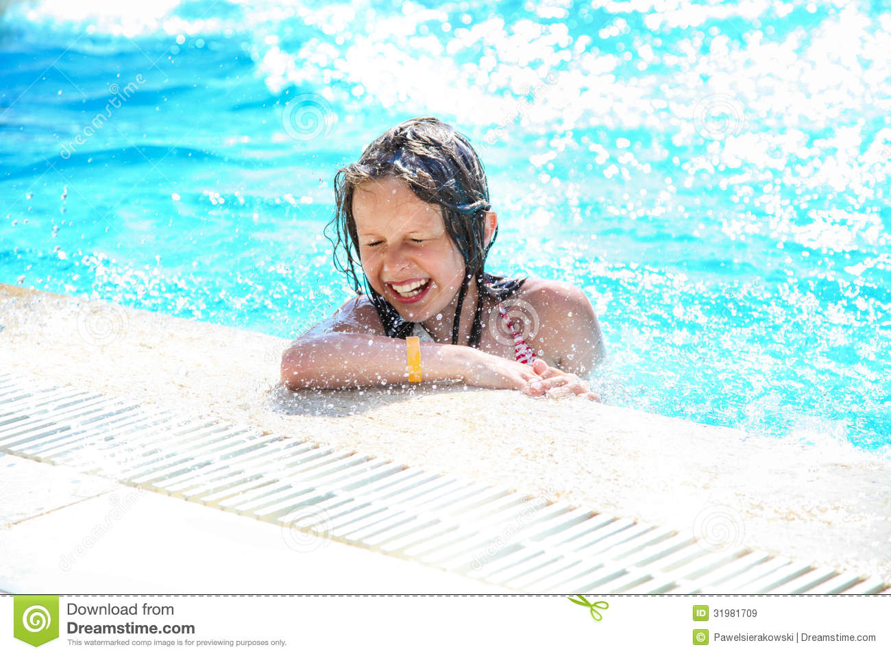 Smiling cute little girl having fun in swimming pool for Cute pool pictures
