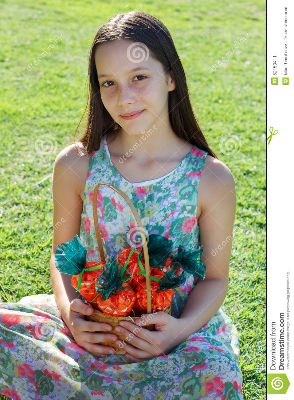 Smiling cute teen girl holding basket with carrot of sweet Cute teenage girls pics