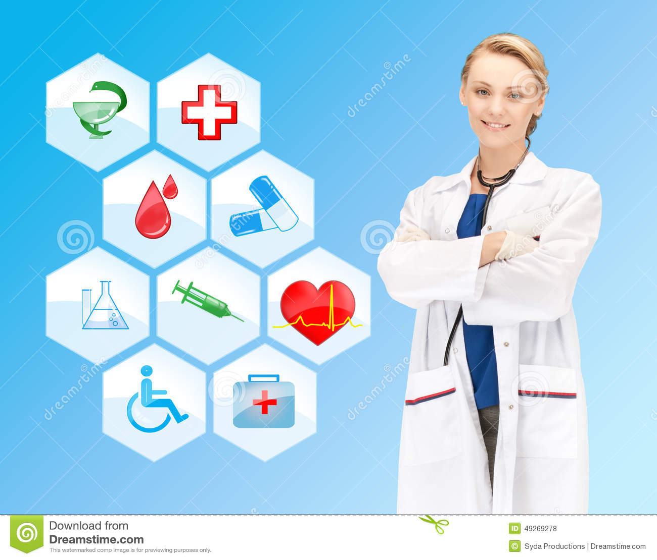 Smiling Doctor Over Medical Icons Blue Background Stock Photo Image Of Medical Occupation 49269278