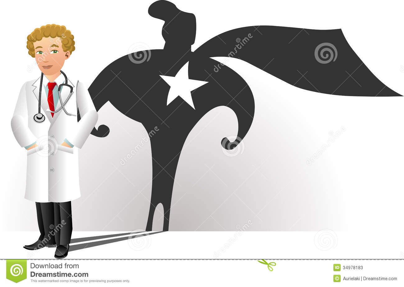 a smiling doctor with superhero silhouette stock vector