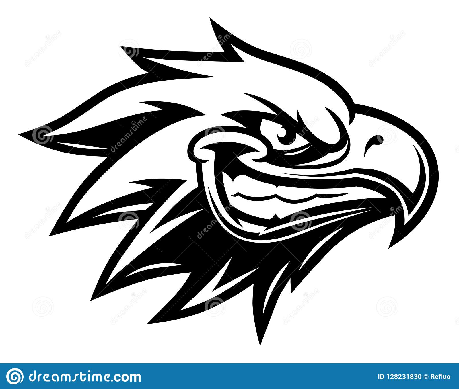 Monochrome cartoon eagle head on the white background