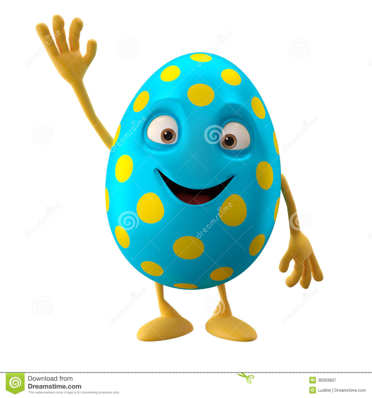 Smiling Easter Egg Funny 3D Cartoon Character Waving Hands Greeting Royalty Free Stock