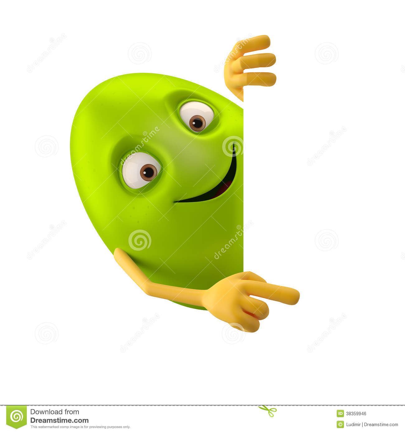 Cartoon Characters 3 Fingers : Smiling easter egg funny d green cartoon character