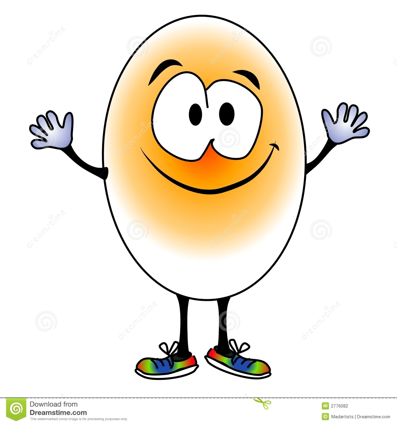 ... of a smiling egg with big eyes, hands and rainbow colored shoes