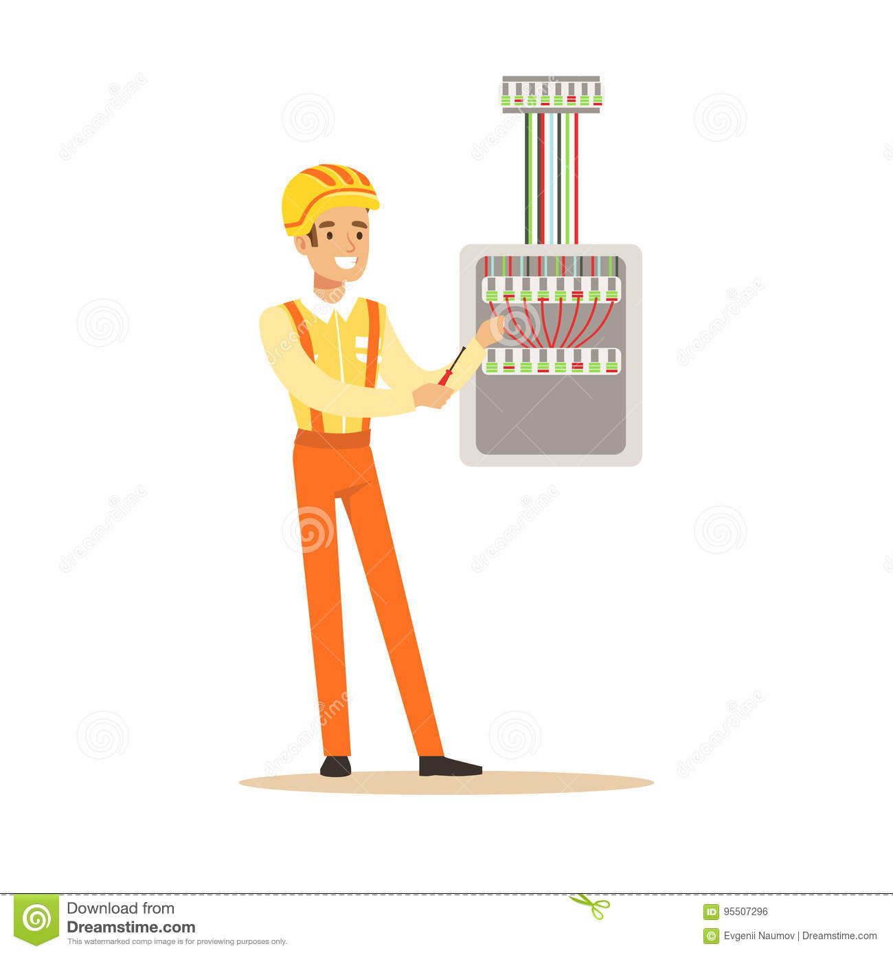 Download Smiling Electrician Screwing Equipment In Fuse Box, Electric Man  Performing Electrical Works Vector Illustration