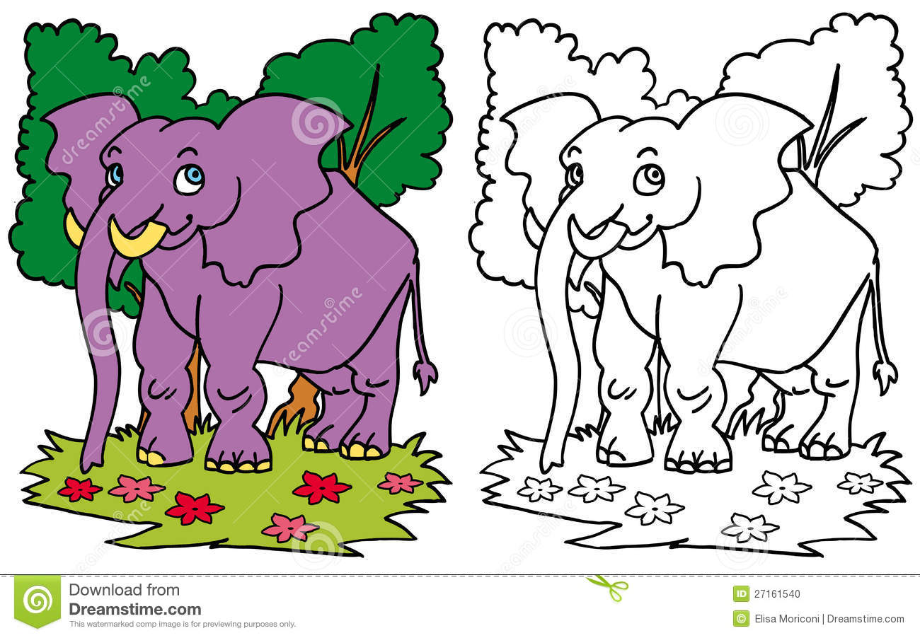Smiling Elephant COLOR And BW Stock Illustration   Illustration Of Color,  Coloring: 27161540