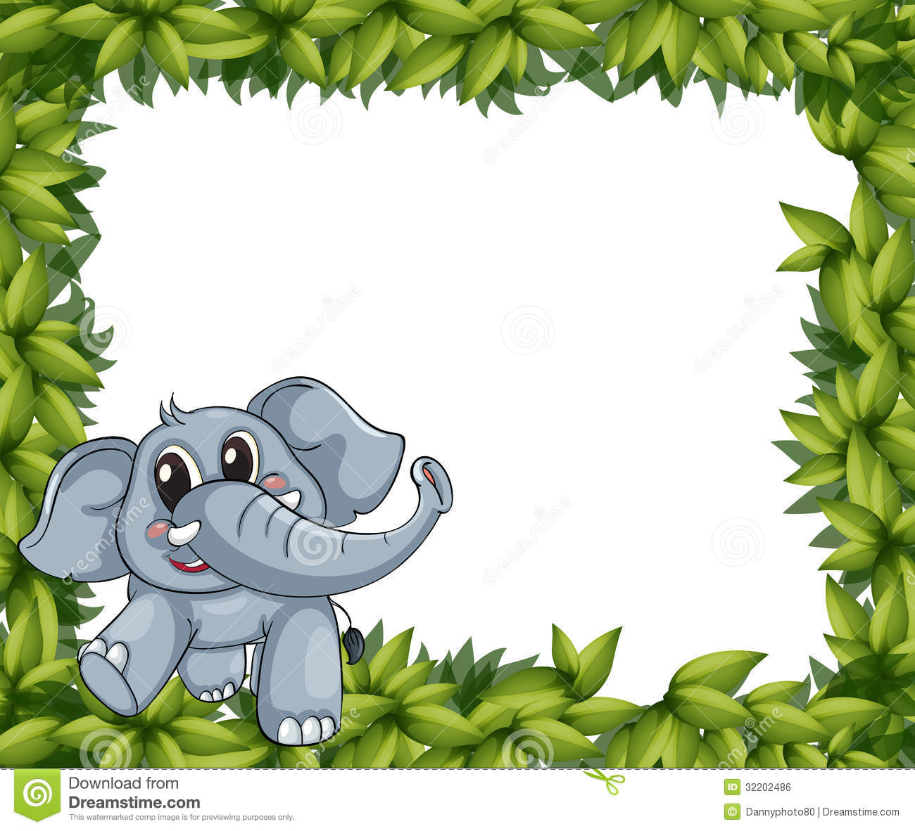 A Smiling Elephant And Plant Frame Stock Vector - Illustration of ...